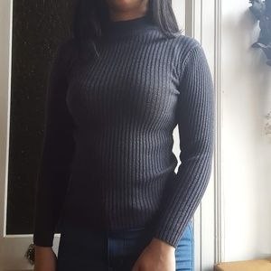 Sweaters - Navy high neck knit sweater